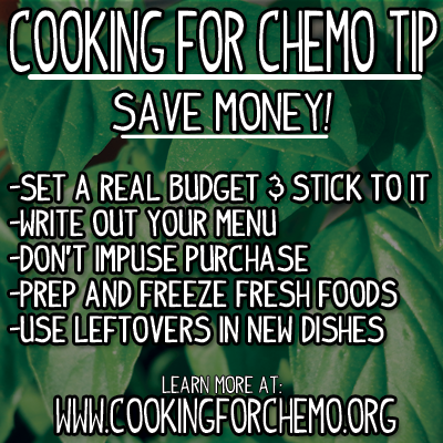 Cooking for Chemo Tip Grocery Budget easy delicious healthy cancer recipes